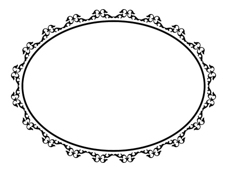 oval black ornamental decorative frame pattern Vector