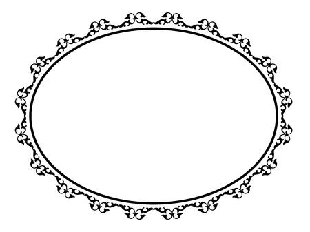 simple line drawing: oval black ornamental decorative frame pattern Illustration
