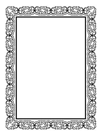 심플한 블랙 calligraph 장식 장식 프레임 패턴