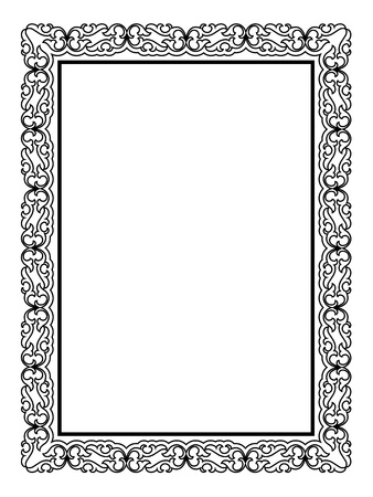 simple border: simple black calligraph ornamental decorative frame pattern Illustration