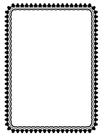 borderframe: Simple black calligraph ornamental decorative frame pattern