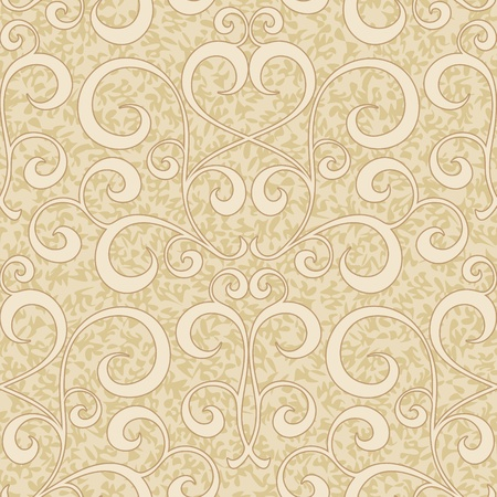 retro styled imagery: abstract beige flourish floral swirl seamless background pattern