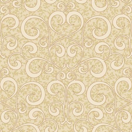 abstrakt beige blühen floral swirl nahtlose Hintergrundmuster