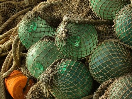 glass float, old fishing nets catch closeup photo