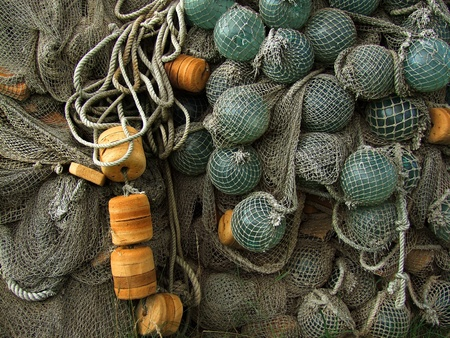glass, plastic float, old fishing nets catch closeup photo