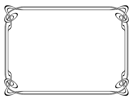 art nouveau black modern ornamental decorative frame Vector