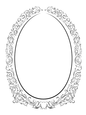 calligraphy penmanship oval baroque frame black isolated, not traced - use it by part  Illustration