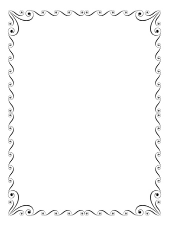 calligraphy penmanship ornamental deco frame black Vector