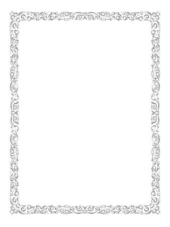 barok ornament: eenvoudige zwarte calligraph sier decoratief kader patroon