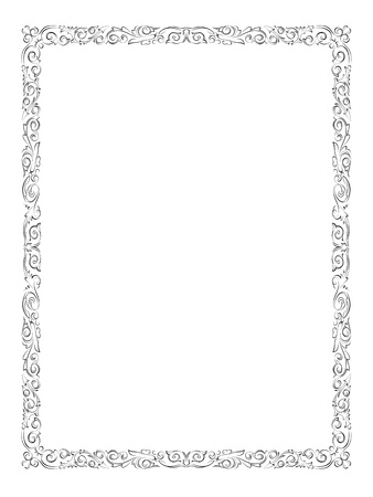 border line: simple black calligraph ornamental decorative frame pattern Illustration