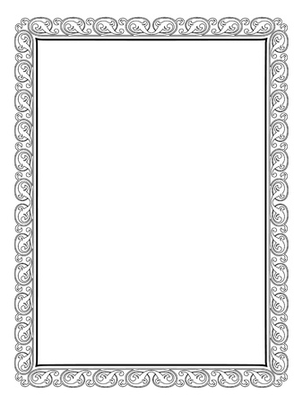 diploma border: calligraphy penmanship curly baroque frame black isolated, not traced - use it by part  Illustration