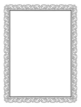 kalligrafie kalligrafie krullend barok frame zwart geïsoleerd, niet getraceerd - gebruik door een deel