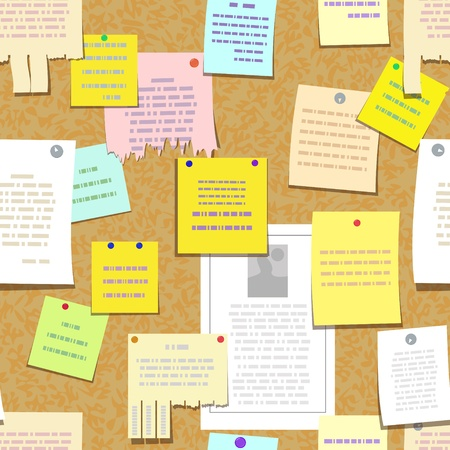 pin board: seamless cork bulletin board with notes, cards, advertise Illustration