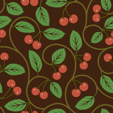 seamless vector pattern with red cherries background Vector