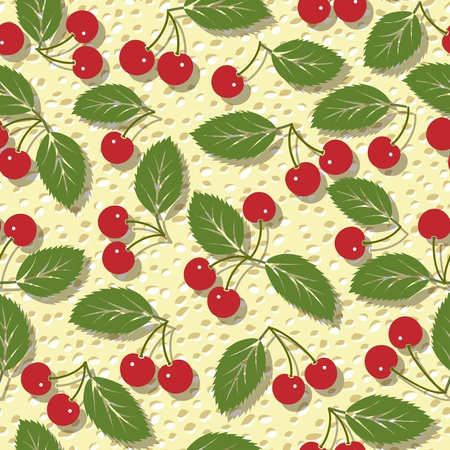 seamless vector pattern with red cherries background Stock Vector - 13551605