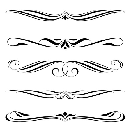 Vector set of decorative elements, border and page rules frame Vector