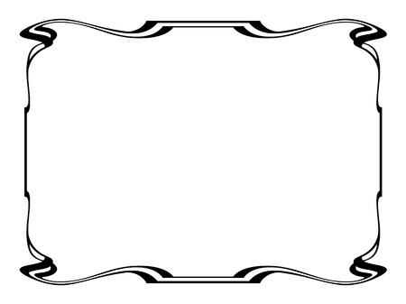 Vector art nouveau black modern ornamental decorative frame