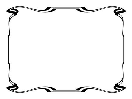 stile liberty: Vector art nouveau nera moderna cornice ornamentale decorativa Vettoriali