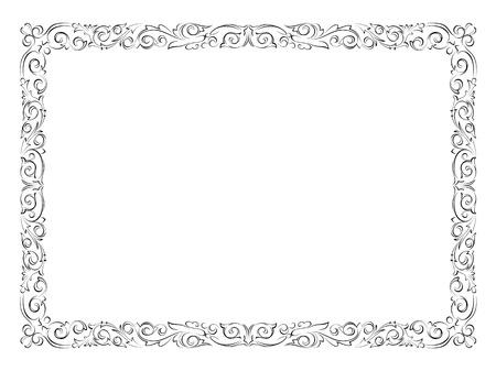 シンプルな黒い達筆で書く装飾用フレーム (飾り枠パターン ベクトル  イラスト・ベクター素材