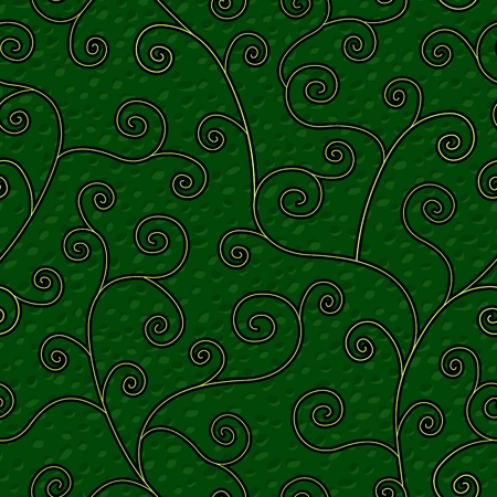 abstract flourish floral swirl greenseamless background pattern Vector