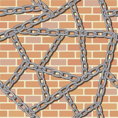 linked: Chain on brick wall seamless background pattern