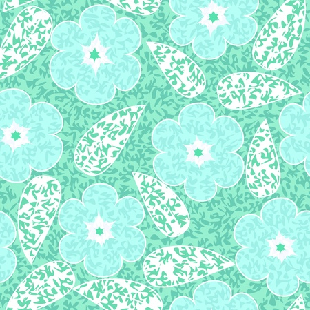 Abstract flowers floral green seamless background Stock Vector - 14387658