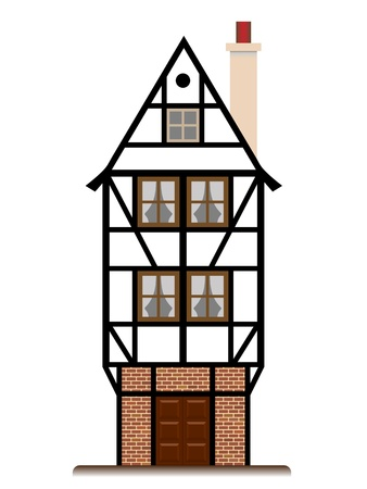 renovate old building facade: fachwerk house old traditional european cottage isolated