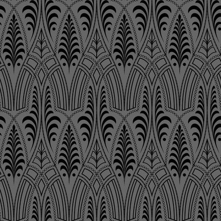 シームレスな黒花の抽象的な壁紙パターン背景