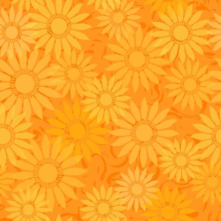 シームレスなひまわりオレンジの抽象的なパターンのベクトルの背景  イラスト・ベクター素材