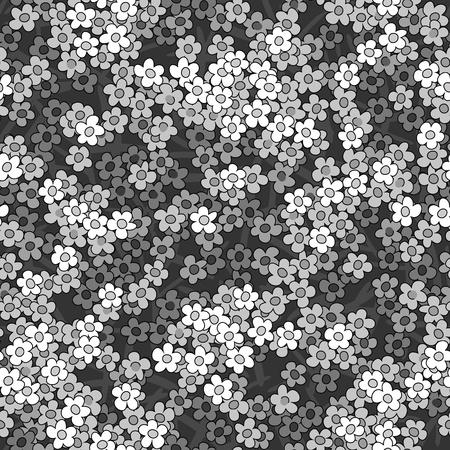 小さい白い花をシームレスな抽象的なパターンのベクトルの背景