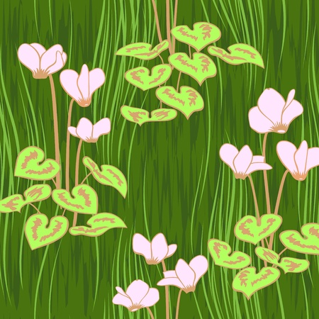 vector seamless pink ciklamen flowers pattern background Vector