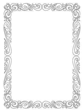 Vector simple black calligraph ornamental decorative frame pattern Vector