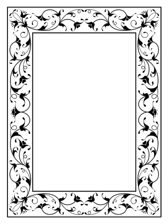 oriental floral ornamental deco black frame pattern isolated