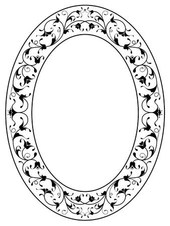 分離された東洋の花観賞アールデコ調の黒い楕円形フレーム