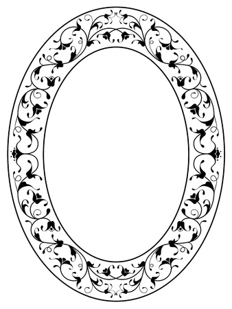 oriental floral ornamental deco black oval frame isolated