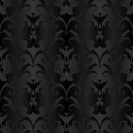 damasco: seamless floral negro papel pintado abstracto del fondo del modelo Vectores