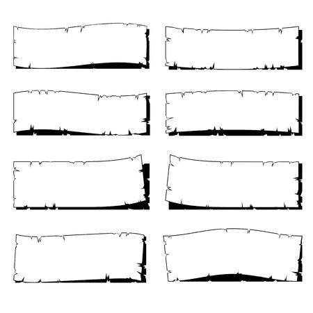 set van witte geripte oud papier frame met schaduw op wit wordt geïsoleerd Stock Illustratie