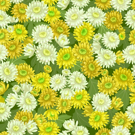 Seamless yellow white chrysanthemum flowers pattern backgrounds Stock Vector - 15254710