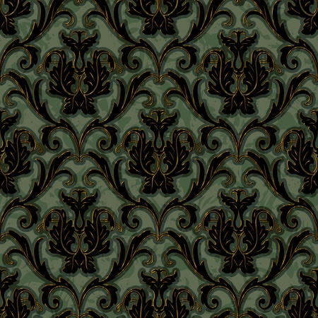seamless floral damask brocade pattern background  Vector