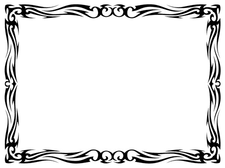 simple black tattoo ornamental decorative frame isolated