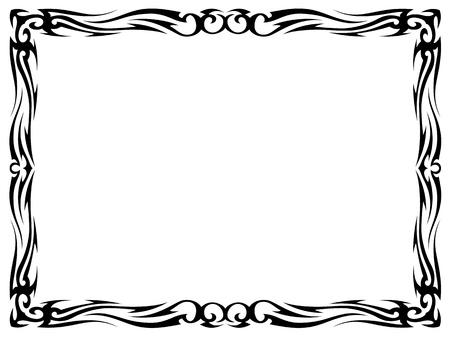 bookplate: simple black tattoo ornamental decorative frame isolated