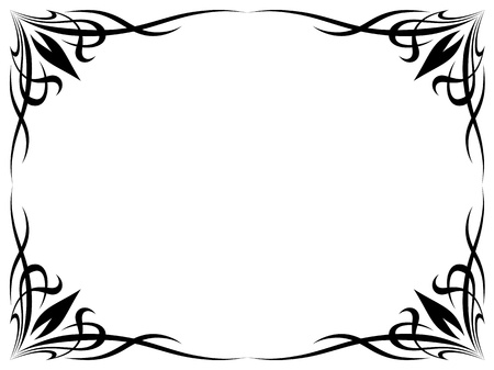 simple black tattoo ornamental decorative frame isolated