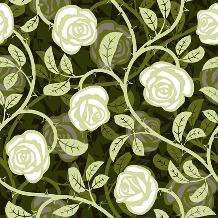 seamless abstract romantic rose white background design pattern