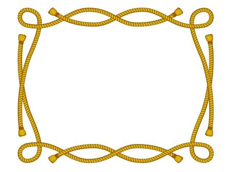 白で隔離されるロープからフレーム