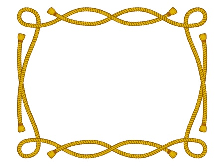 rope border:  frame from rope isolated on white Illustration