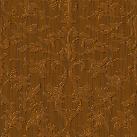 seamless abstract wood carved floral ornament background Vector
