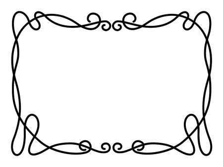 art deco frame: Vector simple black calligraph ornamental decorative frame pattern