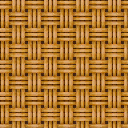 rattan mat: vector woven wicker rail fence seamless background Illustration