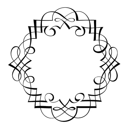 penmanship:  calligraphy penmanship ornamental deco frame pattern