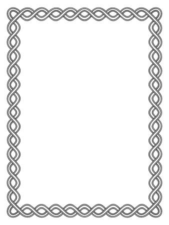 シンプルなブラック書道装飾用の装飾的なフレームのパターン  イラスト・ベクター素材